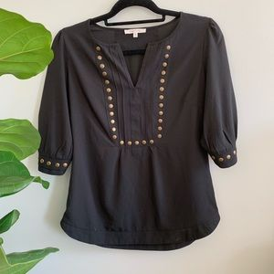 Black V Neck Blouse Gold Stud Detail